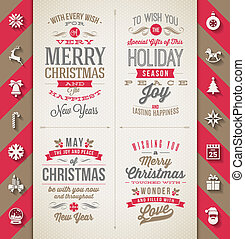 Set of Christmas type designs and flat icons with long...