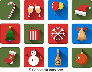Set of Christmas vector icons. Flat with long shadows .