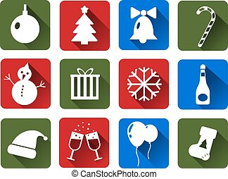 Set of Christmas vector icons white. Flat with long shadows .
