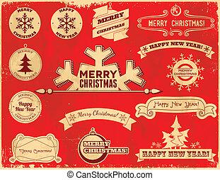Set of Christmas vintage labels