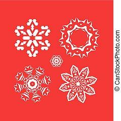 Set of Christmas white snowflakes