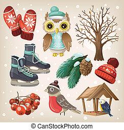 Set of christmas winter elements