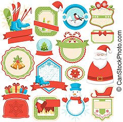 Set of Christmas Winter Lables Icons Flat Collection...