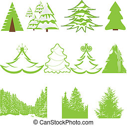 Set of Christmas winter pine tree