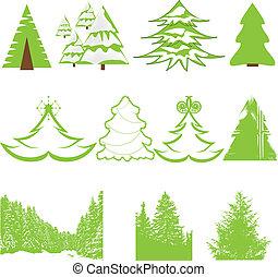 Set of Christmas winter pine tree