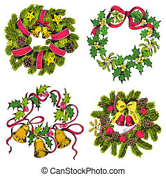 Set of Christmas Wreath - for design and scrapbook - in vector