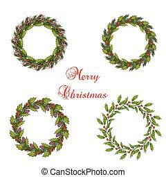 Set of christmas wreath