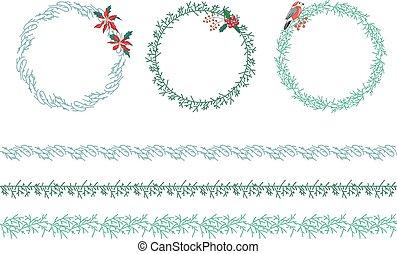 Set of Christmas wreathes isolated on white.