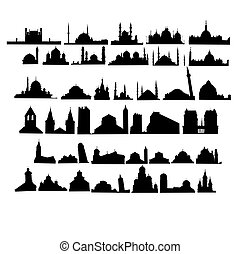 Set of churches and mosques