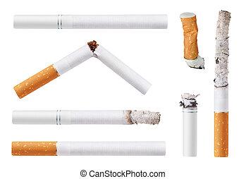cigarettes - Set of cigarettes. Isolated on white background