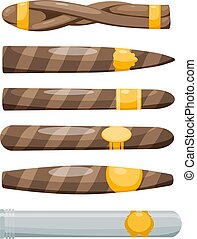Set of cigars on a white background in the style of a cartoon. Vector illustration