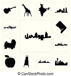Set of cincinnati skyline, seattle skyline on white background, , houston painter easel, apple, kansas city shih tzu, dc, icons
