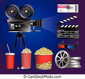 Set of cinema objects - modern vector realistic isolated clip art