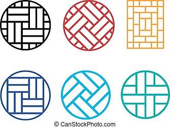 Set of Circle Chinese pattern window frame