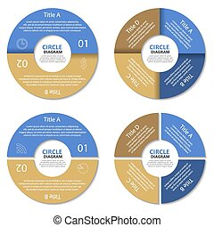 Set of circle diagram. Business con