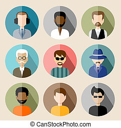 Set of circle flat icons with man. vector illustration