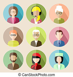 Set of circle flat icons with people. vector illustration