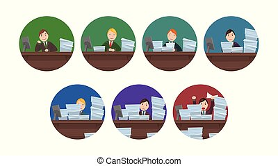 Set of circle images Workload workers in cartoon style. The...