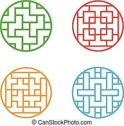 Set of Circle Korean pattern window frame