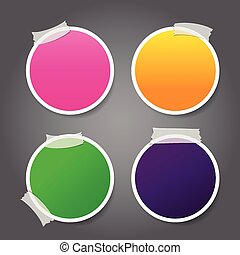 Set of circle label Tag Banner with tape