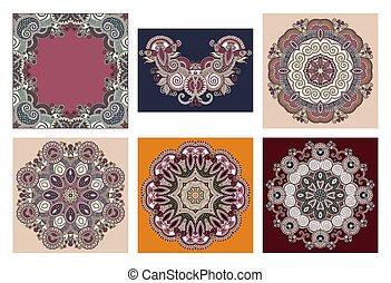 set of circle lace ornament, round ornamental geometric doily pattern