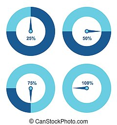Set of circle percentage diagrams for infographics design elements. 25, 50, 75 and 100 percent.