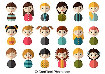 Set of circle persons, avatars, people heads different...