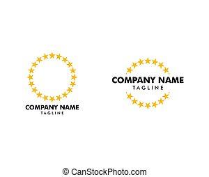 Set of Circle Star Border Vector Logo Template Illustration Design