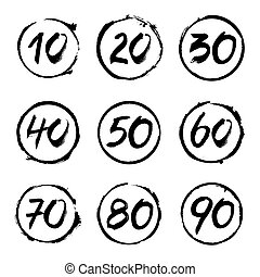Set of Circles Stamps and Numbers. Vector Icons