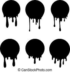 Set of circles with ink splashes. Design element for poster, card, banner, flyer. Vector illustration
