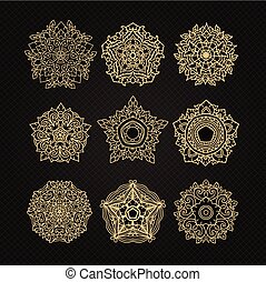 set of circular ornaments sketches for tattoo graphic Thai design