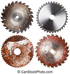 Set of four circular saw blades isolated on white background