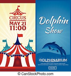 Set of Circus and dolphin show banner, circus and...