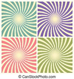 Set of circus graphic radius effects retro green, blue, purple, red color and light brown with halftone for comic background.