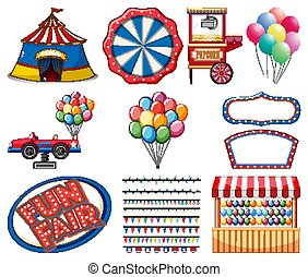 Set of circus items on white background