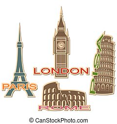 Set of cities symbols