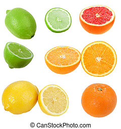 Set of citrus fruits. Isolated on white background....