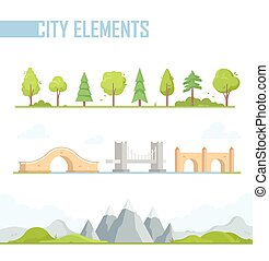 Set of city elements - modern vector cartoon isolated...