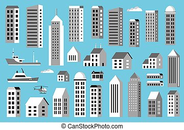 Set of city landscape silhouettes with houses