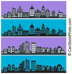 Set of city landscape silhouettes with houses skyscrapers