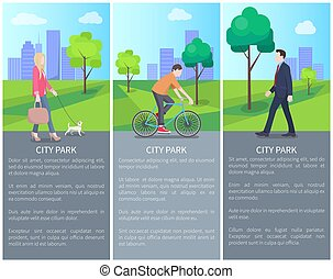 Set of City Park Color Banners with Varied People