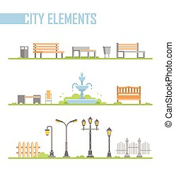 Set of city park elements - modern vector cartoon isolated illustration