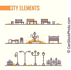Set of city park elements - modern vector isolated objects