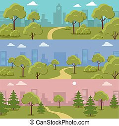 Set of City Park Vector Concepts In Flat Design
