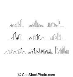 Set of city skyline