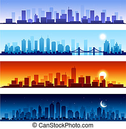 Set of city skylines background
