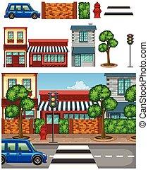 Set of city town element