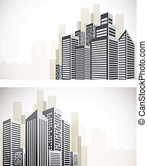 Set of cityscape banners