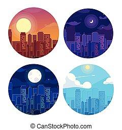 set of cityscape buildings scene