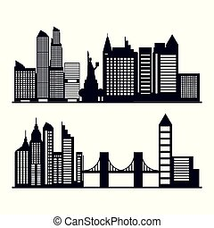 set of cityscape with buildings